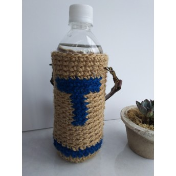 T(青色)の麻ひもペットボトルホルダー