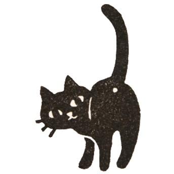 ◆再販6◆【消しゴムはんこ】見返り黒猫【何点でも送料一律120円】