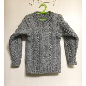 【子供用】ざっくり編み・グレーのセーター