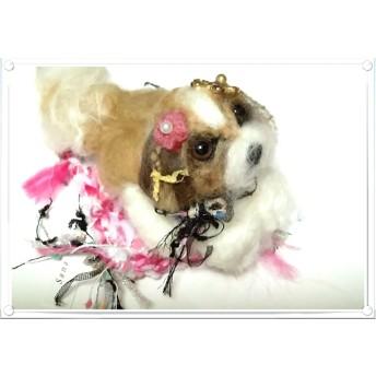 羊毛フェルト.犬.ちょこんとシーズーちゃん(13センチ) 引き揃え糸のマットつき、置物(お座りです)