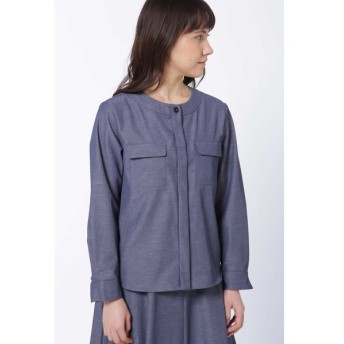 HUMAN WOMAN / ドライツイルノーカラーシャツ