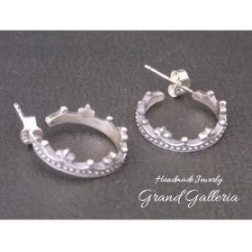 シルバー925 クラウンピアス 王冠ピアス 黒 (両耳) Grand Galleria
