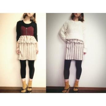 ストライプペプラムスカートのキャミドレス