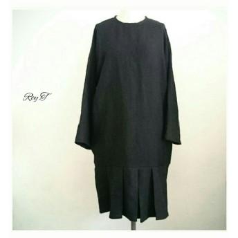 中厚地リネン100%(黒) 丸首ドルマン長袖 裾切替えプリーツタックゆったりスモックワンピース