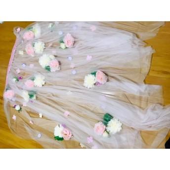ウエディングドレス、カラードレス用オーバースカート オーバードレス お花/フラワー付き