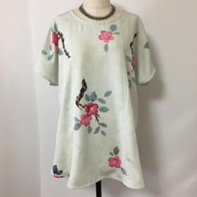 正絹着物リメイク チュニック椿フリーサイズ