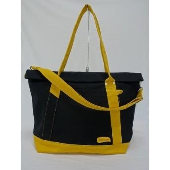 (大)8号帆布蓋巻きショルダートートバック 黒×マスタード・黒 大きめバッグ