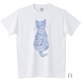 かわいい子猫とバーベナTシャツ ブルー 全3色 サイズ多数 受注制作