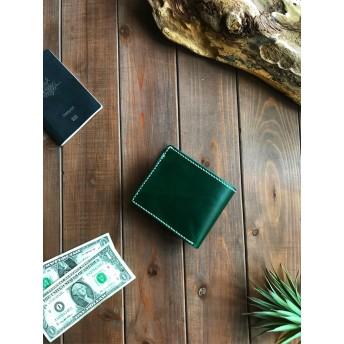イタリアンレザーを使った緑色と無地の二つ折り財布
