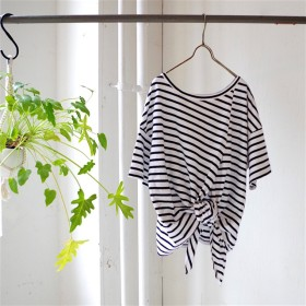 ★SALE 20%OFF★ 前後着用可!2way エーゲ海コットンボーダー裾結びTシャツ(navy× white)