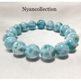 高品質天然石ラリマーブレスレット カリブ海からの贈り物EX