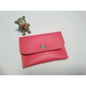 【送料無料】合皮カードケース*レッドピンク