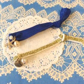 人魚の海 ヘアタイ ブレスレット ブルー