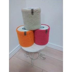トイレットペーパー カバー【オレンジ】♪トイレをカラフルに♪ニットラッピング無料