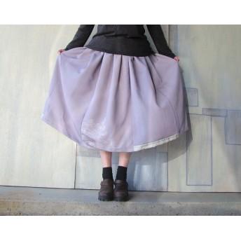 着物リメイクギャザースカート紫日本庭園