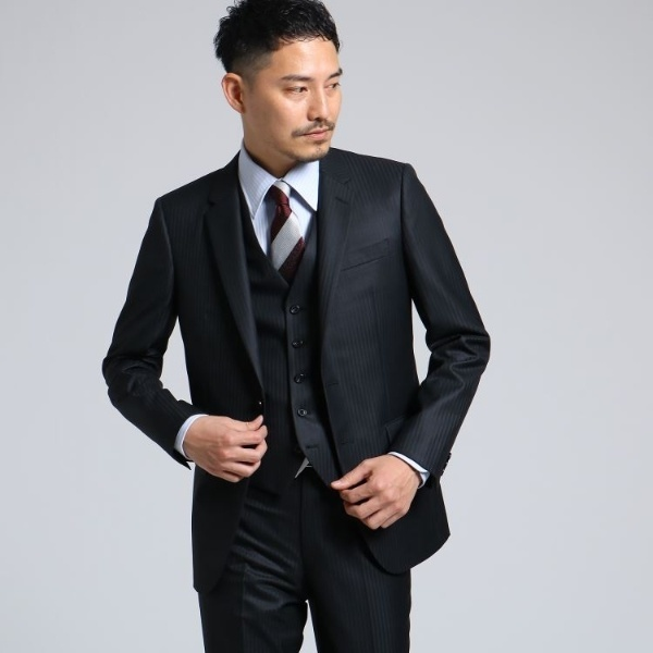 【WEB限定】 スーツ+ スタンダード+ ナノ・ユニバース 【Dresspresso】 (nano universe) (メンズ) ネイビー/ ソリッド+