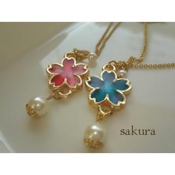 sakura桜とパールのネックレス