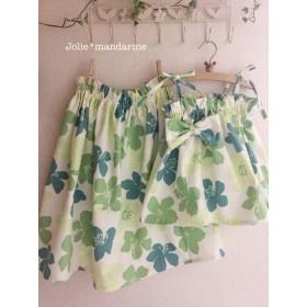 親子でお揃いコーデ♪ママ用ギャザースカートとお子様用4wayワンピース&スカートのセット(グリーンフラワー)
