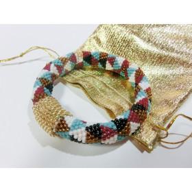5色ビーズ刺繡ブレスレット 18cm