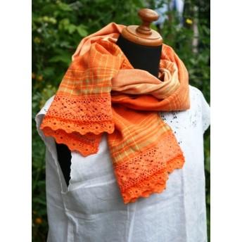 レースの付いた綿の手織りストール(オレンジ)