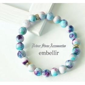 ◆和心◆水色&紫*キャンディジェイド/天然石/パワーストーンブレスレット