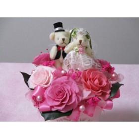 ウェディングベアーのハートポット・プリザーブドフラワーアレンジ♪ピンク♪結婚祝い♪