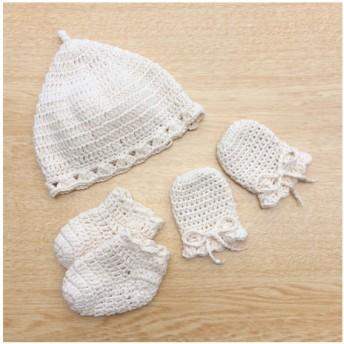 【送料無料】手編みのようこそ赤ちゃんセット⁂オーガニックコットン100⁂ベビー帽子・ソックス・ミトン⁂