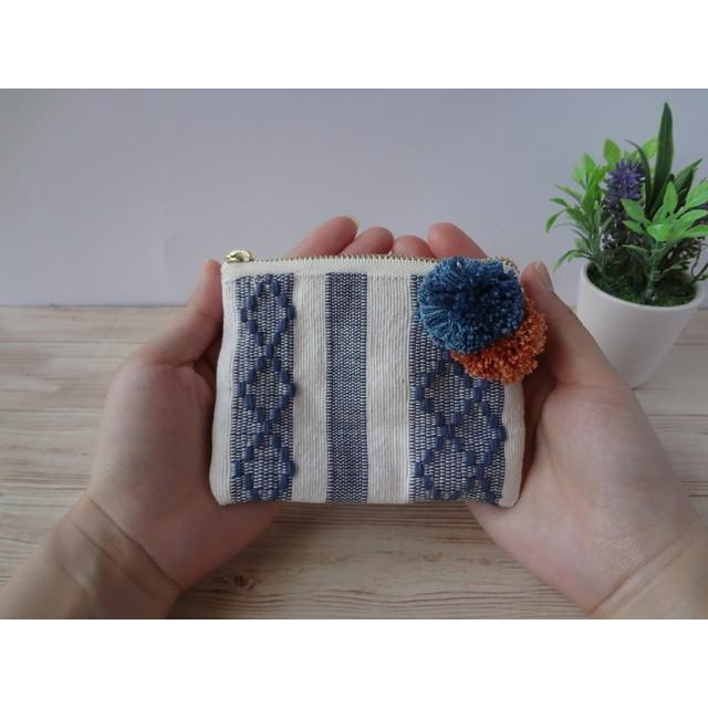 インド綿でつくる フラットポーチmini * ブルー
