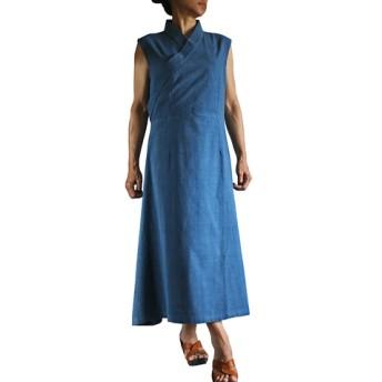 ジョムトン手織り綿チュバ風ドレス インディゴ(DFS-039-03)