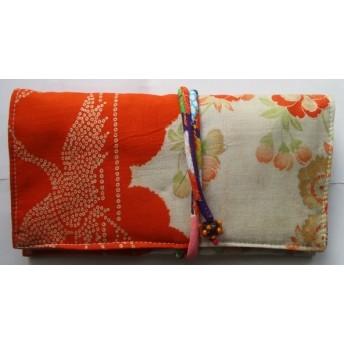 2911 花と鶴柄の着物で作った和風財布・ポーチ
