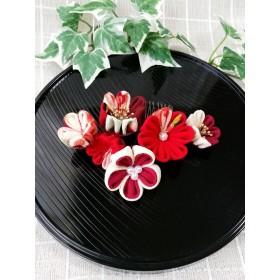 つまみ細工 赤と古典柄 和の髪飾り