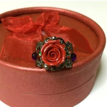深紅の薔薇のリング ジュエリーボックス付き