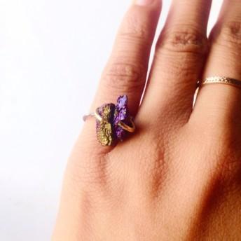 G & P. チャルコパイライト 原石 . ハンドメイド リング 指輪 天然石 チャルコパイライト ブルー パープル グリーン シルバー ゴールド の輝き