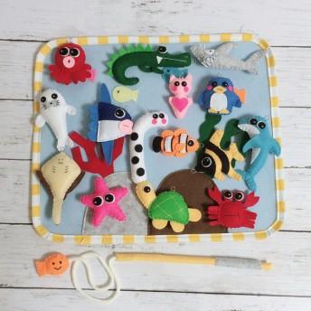 フェルトのお魚つりゲーム(mini)★知育おもちゃ★収納袋つき