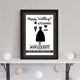 結婚式や入籍のお祝いに!モノトーンなブライダル・ウェディングウェルカムボード#TUXEDO & DRESS2(A4)