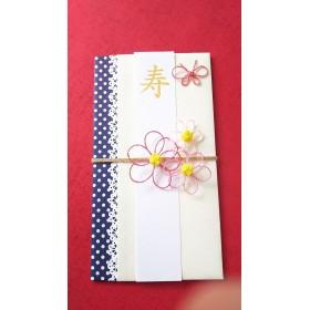 3つのお花の可愛いご祝儀袋(紺色水玉)