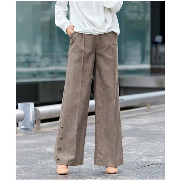 パンツ ワイド ガウチョ 大きいサイズ レディース 裾ボタンデザインワイド ゆったり ヒップ  106〜98 ニッセン