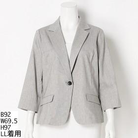 [マルイ]【セール】【大きいサイズ】【L-5L】麻混テーラードジャケット/フルールbyミントブリーズ(Fleur)