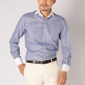 [マルイ] SD: 【ALBINI社製生地】ファインフィット ハウンドトゥース ワイドカラー シャツ(ネイビー)/シップス(メンズ)(SHIPS)
