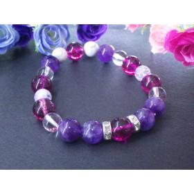 ピンクと紫のコントラストパワーストーンブレスレット*紫陽花*