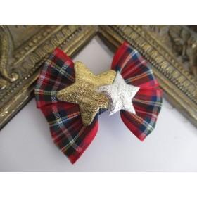 出産祝い クリスマス おめかしおしゃれリボン 星 タータンチェック リボンクリップ(滑り止め付き)1点