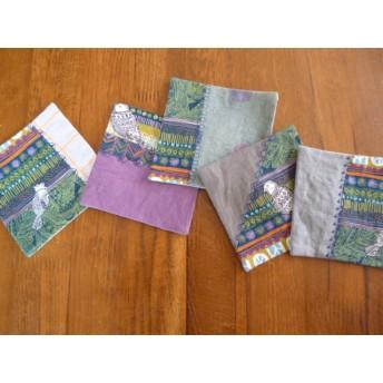 送料無料6北欧調綿麻のミシン刺繍パッチコースター大鳥