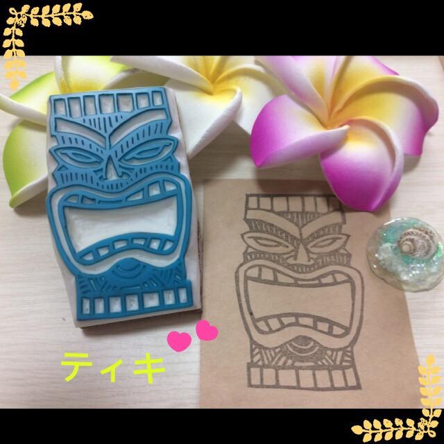 【再販】×3 ハワイアンな消しゴムはんこ☆ティキ