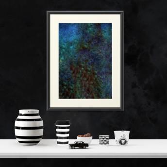 神秘的で宇宙のような深海が美しい孔雀の細胞模様 複製画(プリモアート)×ポスター