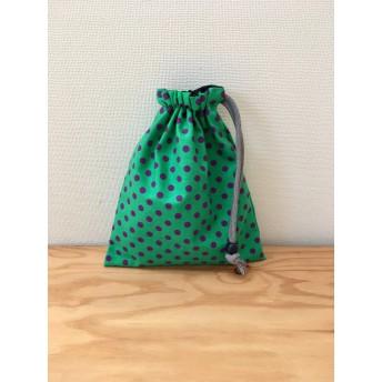 きんちゃく(小) 緑×紫 みずたま コップ袋