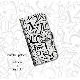 iPhone専用ケース・数字柄・白
