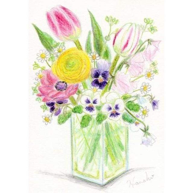 ナチュラル9834チューリップと春の花水彩イラスト木製フレーム 通販