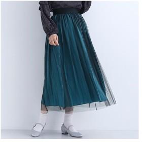 [マルイ]【セール】【再入荷】サテン×チュールプリーツスカート/メルロープラス(merlotPLUS)