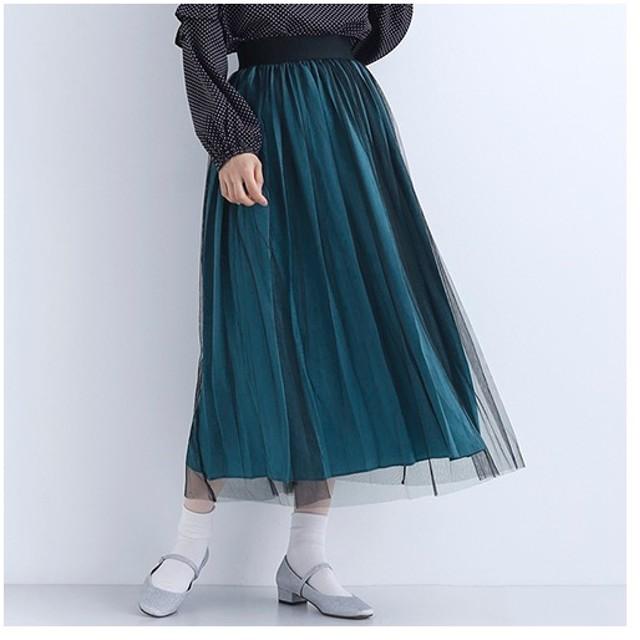 [マルイ] 【再入荷】サテン×チュールプリーツスカート/メルロープラス(merlotPLUS)