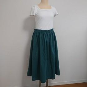 ハーフリネン ギャザースカート☆緑